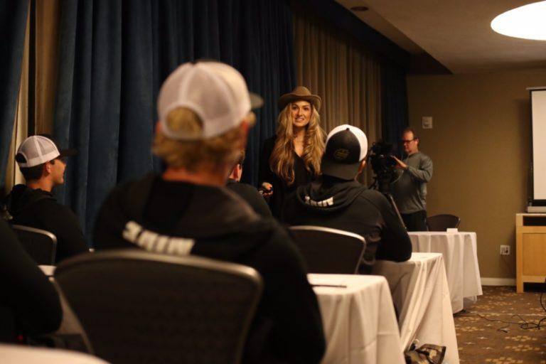 Alexis Jones speaks at the 2016 The Elite 11 Finals in Los Angeles, CA.